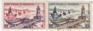 St Pierre & Miquelon, Sc 354-355, Used, 1957, Lighthouse