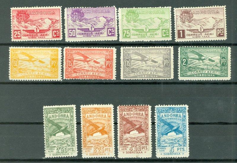 ANDORRA SPANISH SCARCE UNLISTED 1932 AIR SET..SANABRIA #1-12..MINT LIGHT H
