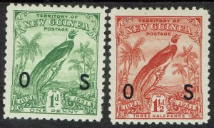 NEW GUINEA 1931 DATED BIRD OS 1D AND 11/2D