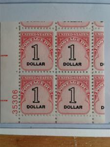 SCOTT  J 100 EFO $ 1.00 UNITED STATES POSTAGE DUE PLATE BLOCKS MINT NEVER HINGED