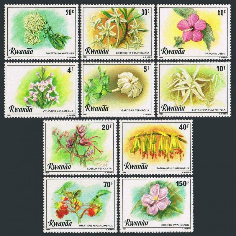 Rwanda MNH 1009-18 Flowers Flora 1981