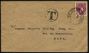 NIGERIA 1948 TAXED cover IJEBU-ODE cds to USA - local T in circle..........96138