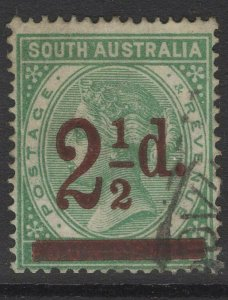 SOUTH AUSTRALIA SG229b 1891 2½d on 4d DEEP GREEN USED