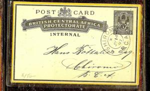 BRITISH CENTRAL AFRICA (P1210B) 1D  PSC 1897 TSHRIOMO INTERAL NO MSG