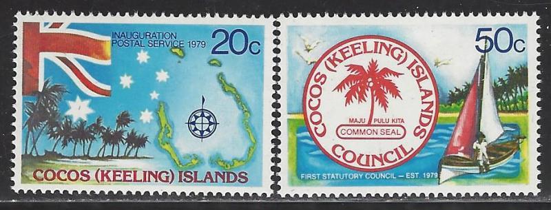 Cocos Islands Scott # 32 - 33, mint nh