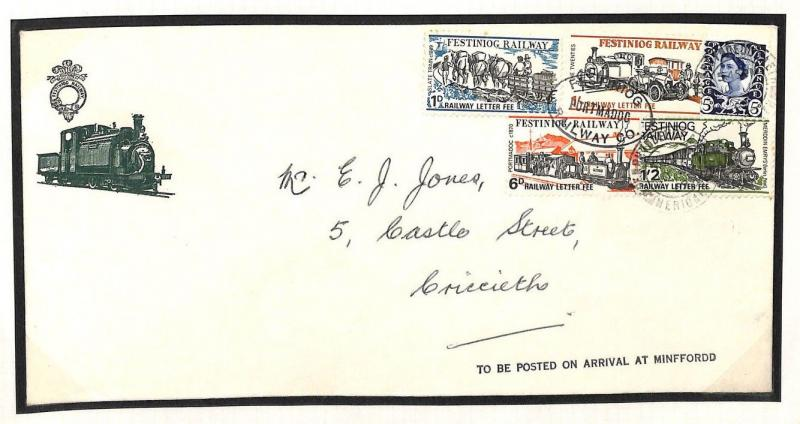 AG301 1969 GB WALES REGIONAL *Festiniog Railway Stamps* MIXED FRANKING Cover