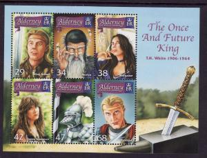 Alderney-SC#268a-sheet of 6-Once & Future King-unused-NH-