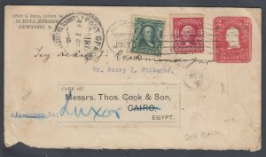 US 1907 cover from Newport RI to Thomas Cook in Cairo EGYPT, fwd to Luxor