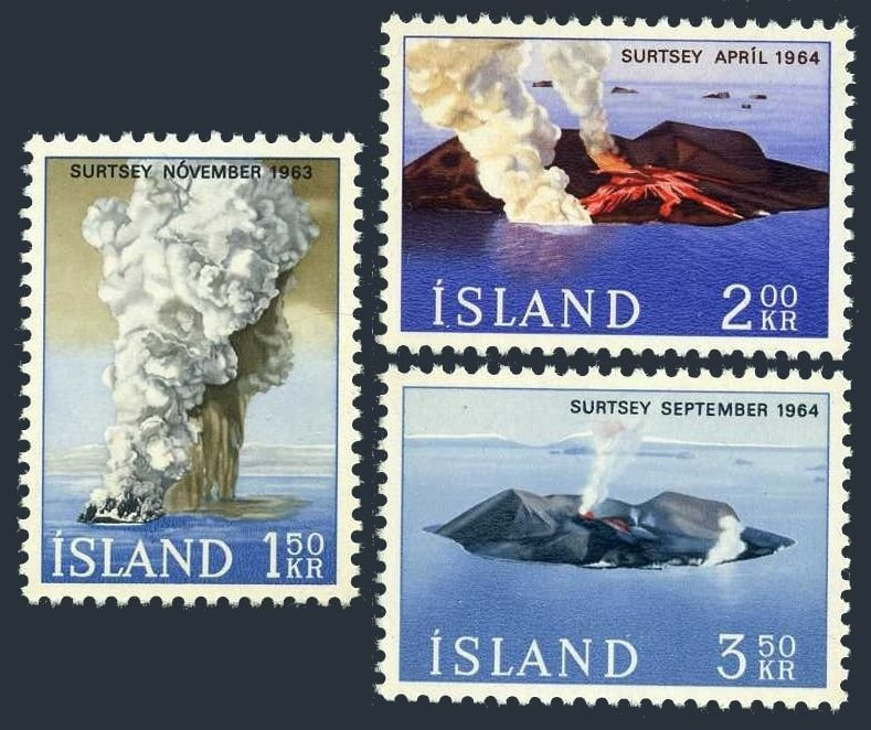 Iceland MNH 372-4 Volcanoes 1965