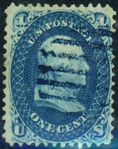 U.S. #63 Used F-VF Blue Cancel