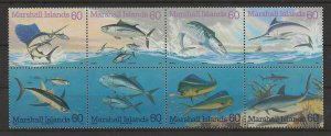 Marshall Islands MNH Block of 8 Sc #595a.-h. Pacific Game Fish 1995