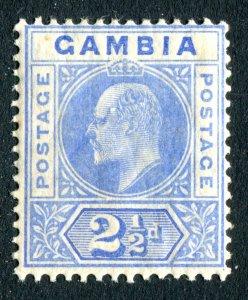 Gambia 1904 KEVII. 2 1/2d bright blue & ultramarine. MC CA. Mint. LH. SG60a.