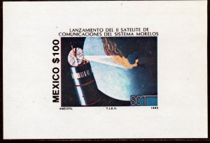 MEXICO 1423 Launch of Morelos II Telecom Satellite SOUVENIR SHEET MINT, NH. VF.