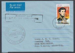 BR ANTARCTIC TERRITORY 1980 formular aerogramme used ARGENTINE IS cds.......J995