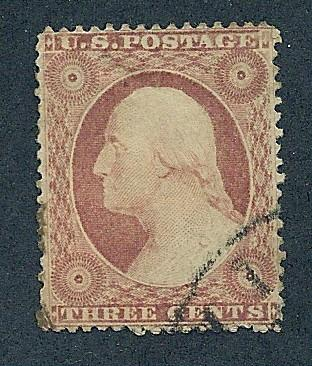 25 Used, 3c. Washington, Type II,  Dull Red scv: $125
