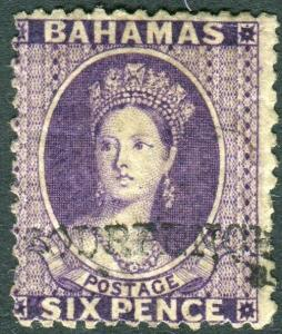 BAHAMAS-1883 4d on 6d Deep Violet.  A mounted mint example Sg 45