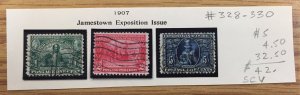 US #328,329,330 Used Jamestown Exposition Issue - Set Of 3 SCV ~ $42