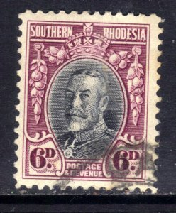 Southern Rhodesia 1931 - 37  KGV 6d Black & Magenta used SG 20 Perfs 12 ( E14...