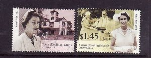 Cocos (Keeling) Is.-Sc#339-40-used 2/3 set-QEII-Royal Visit anniversary-2004-