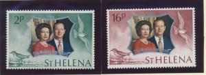 St. Helena Stamp Set Scott #271-2, Mint Never Hinged MNH, QEII Silver Wedding...