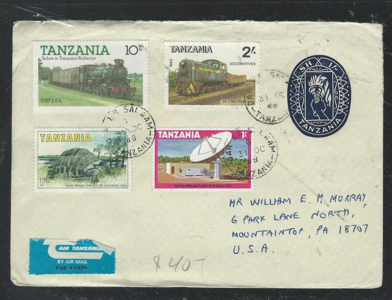 TANZANIA (P2609B) 1968 1/- PSE UPRATED 1/- TURTLE+2/-+10/- TRAIN +1/- TO USA