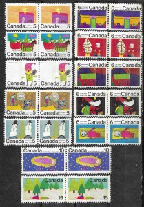 Canada # 519p-530p Christmas 1970 - TAGGED - PAIRS  (12) Mint NH