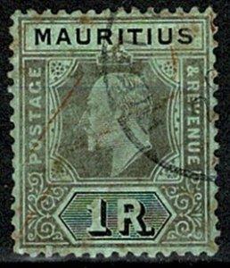 MAURITIUS 1913-22 KG V 1r BLACK on GREEN (DIE II) VFU SG 201b Wmk.MCCA VGC