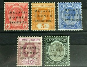 MALAYA-BORNEO EXHIBITION MBE opt Straits Settlements KGV 4c -45c MCCA MLH M3306