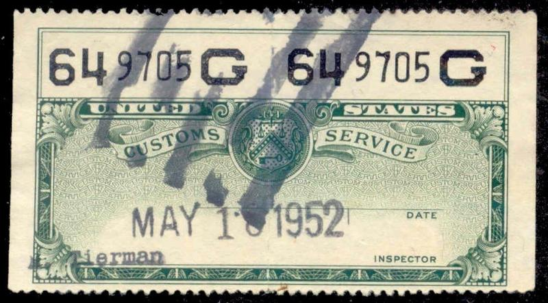 US Customs Service 1939 Baggage Stamp - Green Two-Part