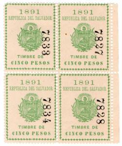 (I.B) El Salvador Revenue : Timbre Nacional 5P
