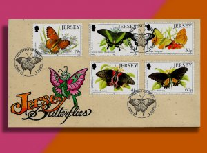 Jersey celebrates Its Vibrant Butterflies • Handcolored FDC from 1995!