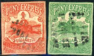 2 Pony Express Stamps