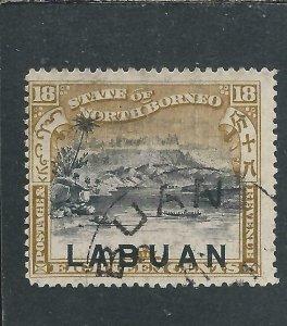 LABUAN 1897-98 18c BLACK & OLIVE-BISTRE PERF 14½-15 FU SG 99a CAT £60