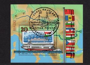 Hungary  #2712 sheet  1981 cancelled perforated Danube commission  boats flags