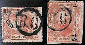 94939e  - MEXICO -  STAMPS  - Yvert # 51 II * 2 -  USED with nice POSTMARKS