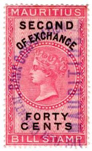 (I.B) Mauritius Revenue : Bill of Exchange 40c (Second)