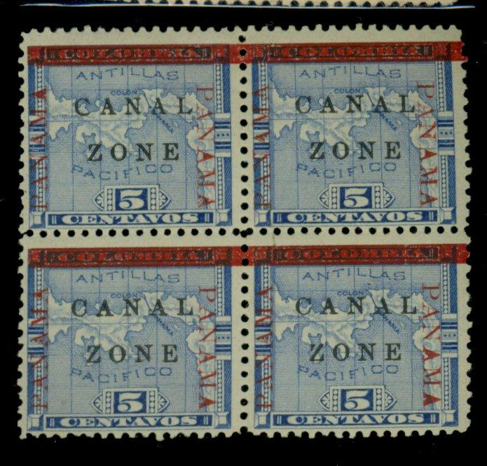 Canal Zone #12a MINT Block F-VF OG LH Cat$300