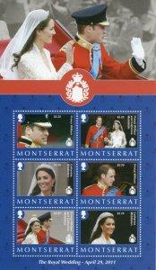 Montserrat Royalty Stamps 2011 MNH Royal Wedding Prince William & Kate 6v M/S