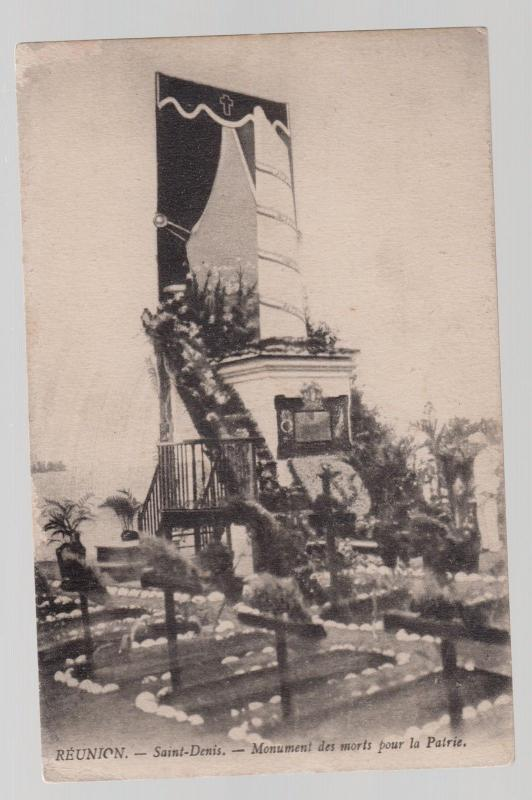 1928 Saint Denis Reunion RPPC Postcard Cover to France Monument to the War dead