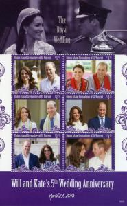 Union Island Gren St Vincent 2016 MNH William & Kate 5th Wedding 6v M/S Stamps