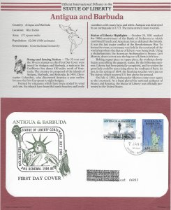 Statue of Liberty Antigua and Barbuda #181-182. 1986  FDC with write up.