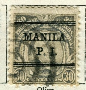 PHILIPPINES; 1908 early Portrait series issue used 30c. value Pre-cancel