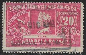 NICARAGUA 1937 20c COLUMBUS WMKD P. 11 Airmail Issue Sc C221 USED