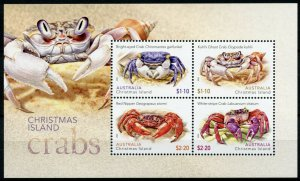 Christmas Island Crabs Stamps 2020 MNH Red Nipper Ghost Crab Crustaceans 4v M/S