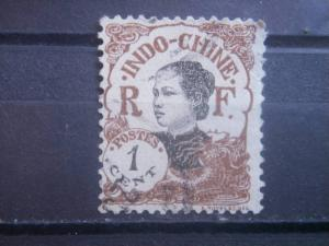 INDO-CHINA, 1907, used 1c, Girl  Scott 41