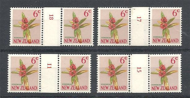 NEW ZEALAND 1967 6c : 4 different # counter coil pairs MNH.................S6727