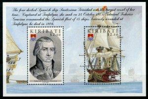 Kiribati Ships Stamps 2005 MNH Battle of Trafalgar 200th Boats Gravina 2v M/S