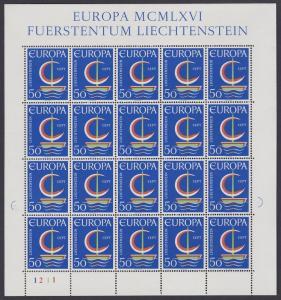 Liechtenstein 'Europa Ship' Full Sheet SG#462 SC#415 CV£10+
