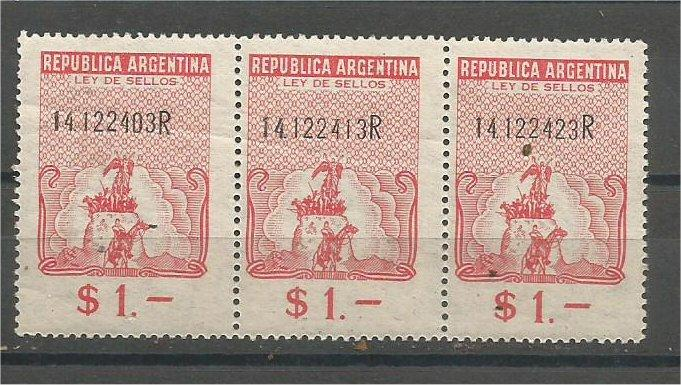 ARGENTINA, 1957, MNH $1, REVENUE