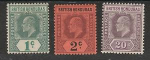 BRITISH HONDURAS 1902 KEVII 1C 2C AND 20C WMK CROWN CA